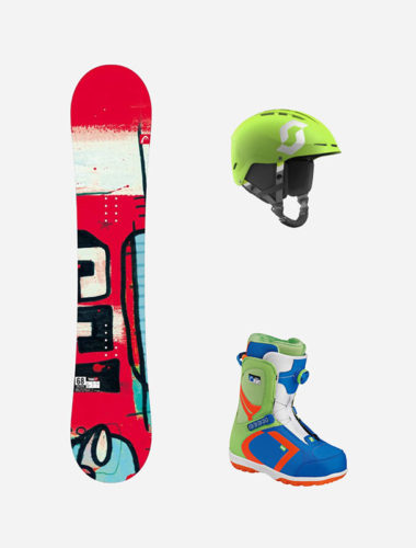 snowboard-junior con scarponi-casco